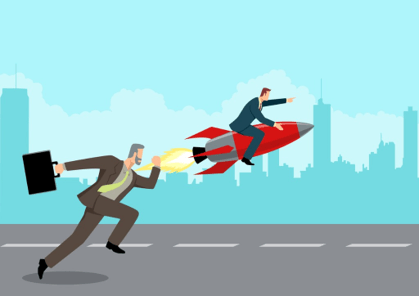 Businessman trying to compete with man astride rocket